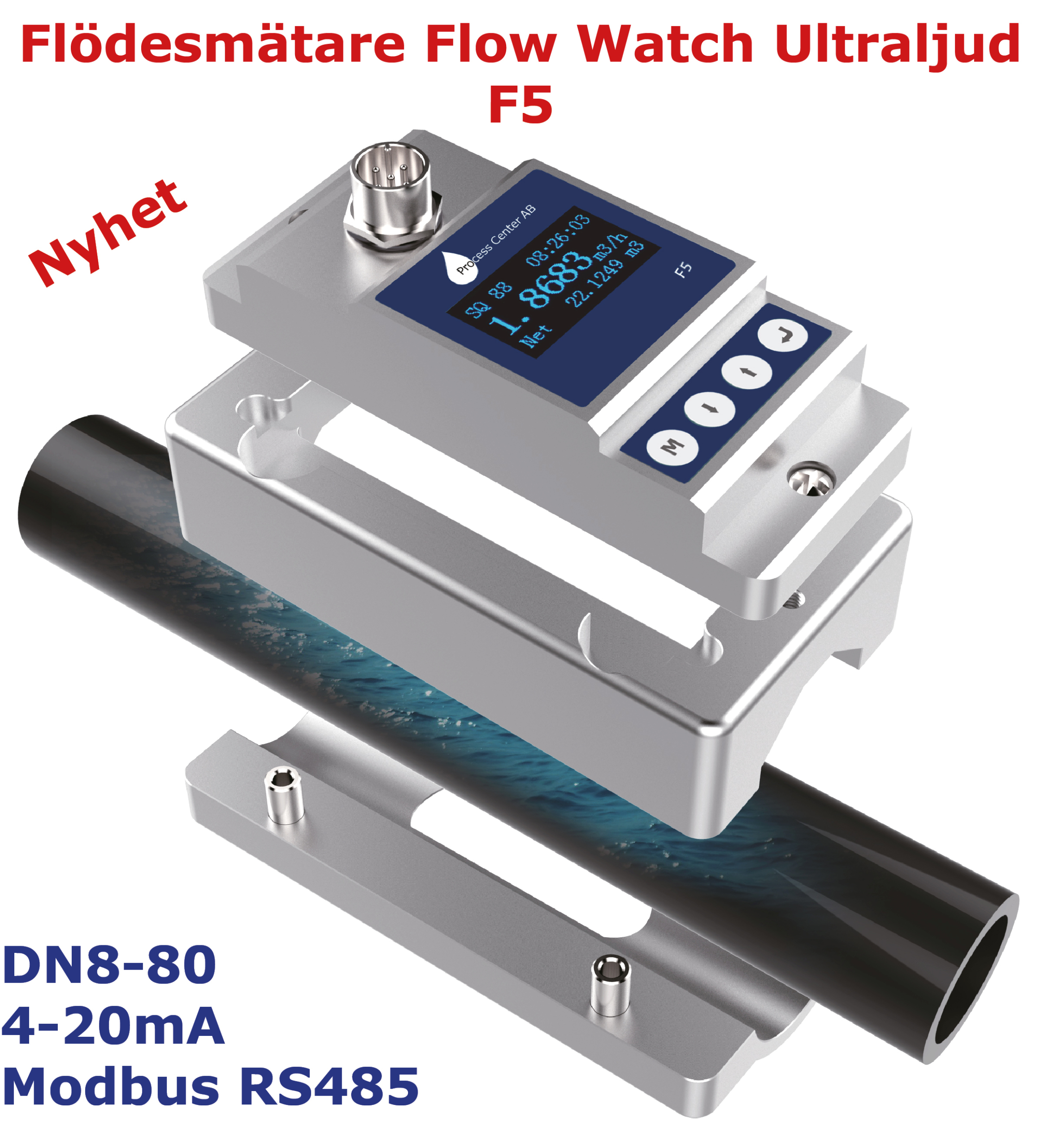Flödesmätare Clamp On Ultraljud Flow Watch